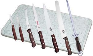 Köksset Victorinox (styck/puts), 6 knivar trä+Stål+Skärbräda