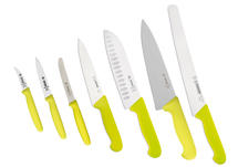 The big kitchen set Giesser, 7 knives LIME-YELLOW