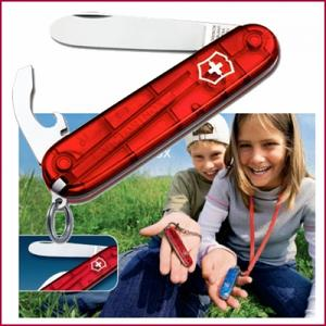 Pocket knife My First Victorinox 84 mm, red transparent